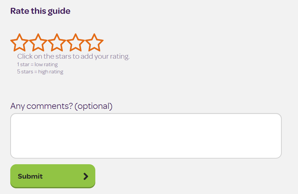 Rate the learning guide with a comment and a star rating out of 5